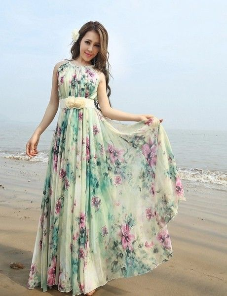 Summer Fl Long Beach Maxi Dress