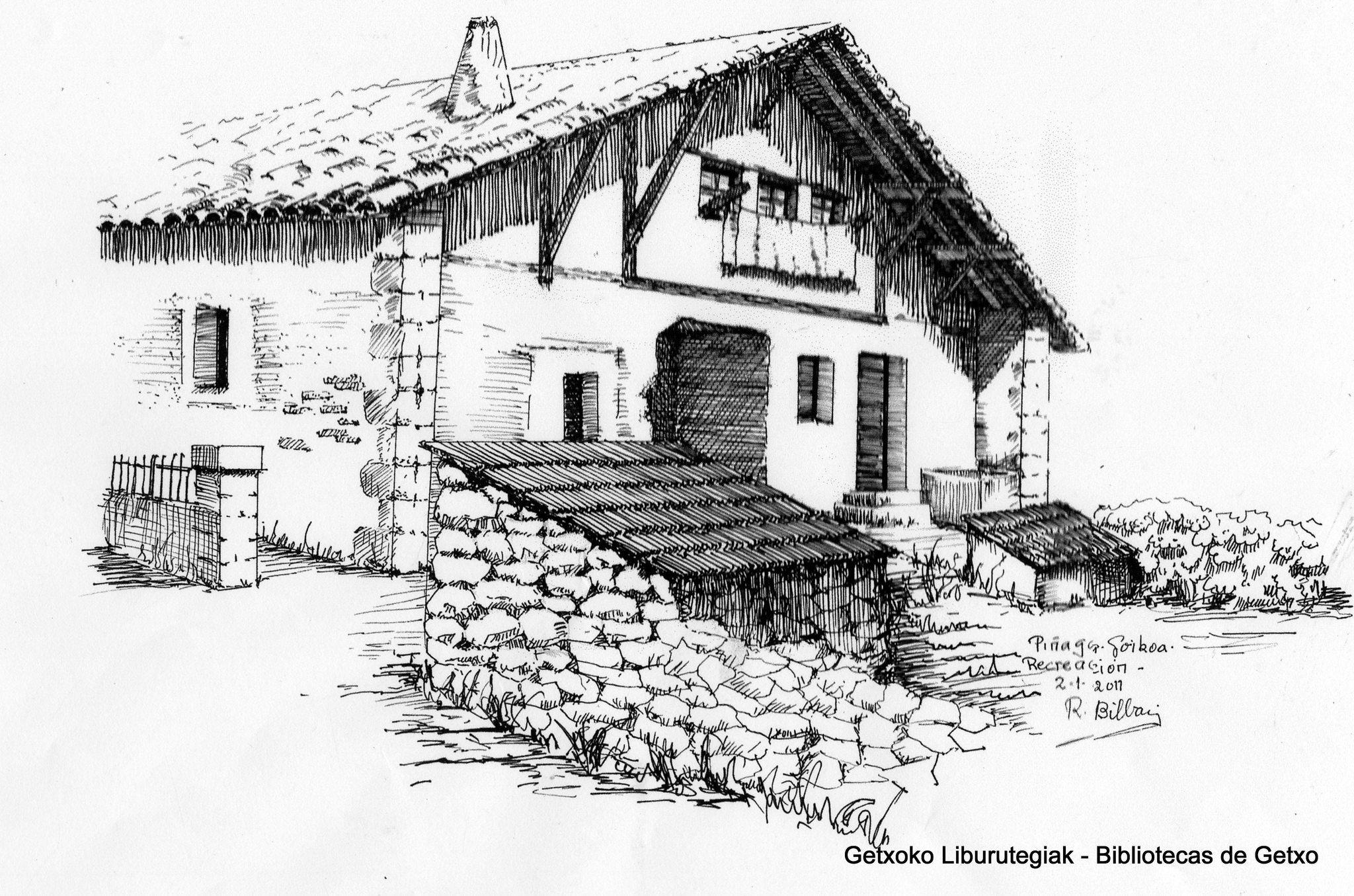 Dibujo del caserío Piñaga Goikoa.  Recreación según testimonios de personas que lo conocieron. (Cedida por Ramón Bilbao) (ref. 05872)