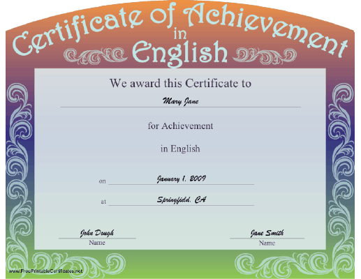A Certificate Of Achievement In English With A Curved Top And A Swirl  Design On A  Free Achievement Certificates