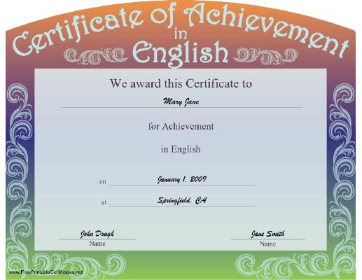 print certificate of achievement