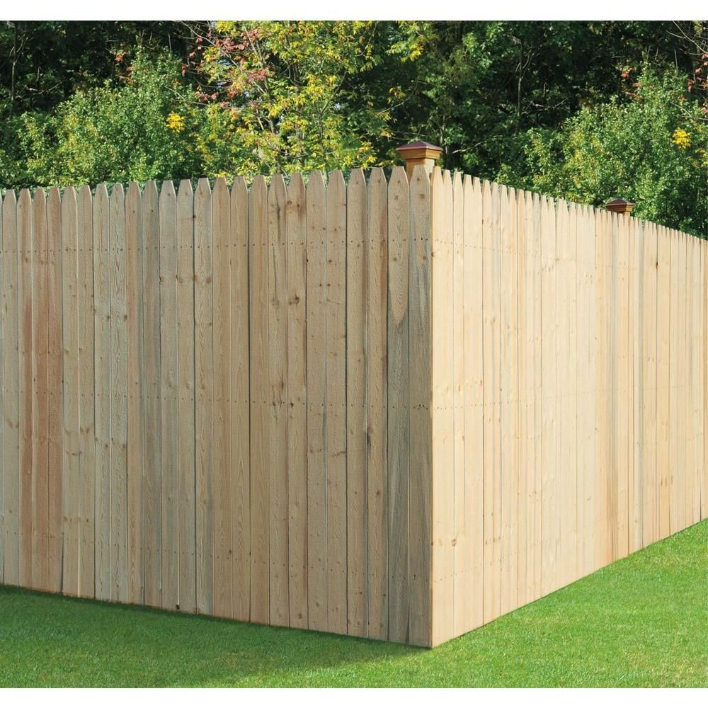 6 X8 Pt Spf 4 Pressure Treated Spruce Moulded Stockade Fence Panel 249295 The Home Depot Stockade Fence Fence Panels Privacy Fence Panels