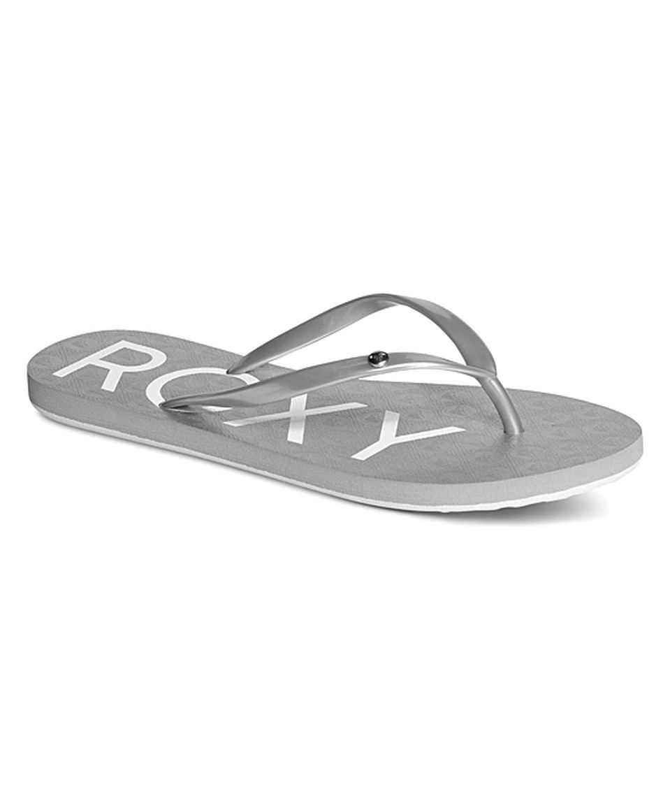 9e558d27aa9a18 Love this Roxy Silver Sandy Flip-Flop - Women by Roxy on  zulily!   zulilyfinds