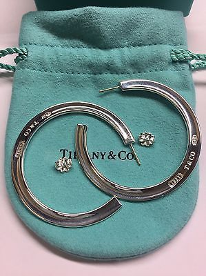 Rare Tiffany Co Silver 1837 Flat Large 2 Inch Hoops Earrings
