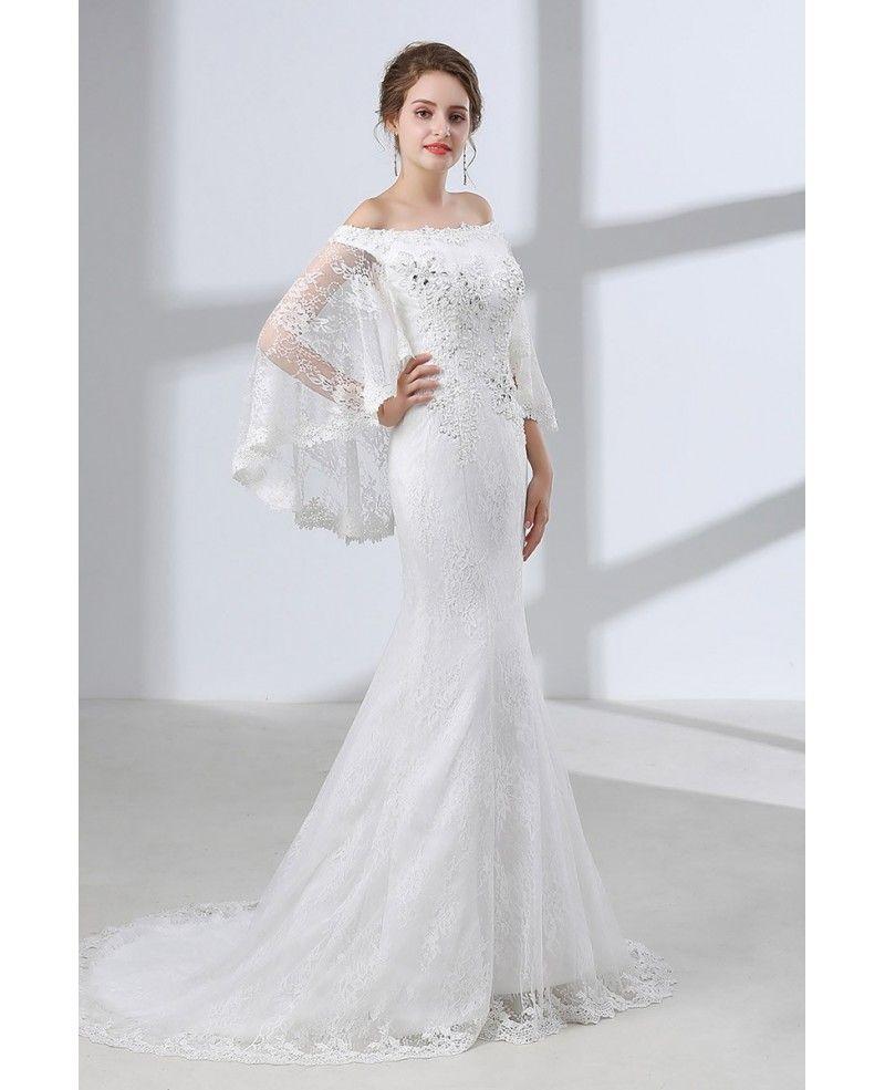 All Lace Wedding Dress: Off Shoulder Petite Trumpet Wedding Dress All Lace With