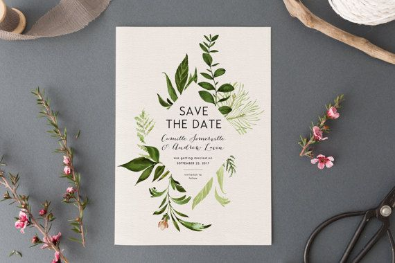Wedding Save the Date EDITABLE Printable Save Our Date Saver Boho Rustic Garden Greenery Laurels Engagement Photograph Wild Botanical PCWBWS
