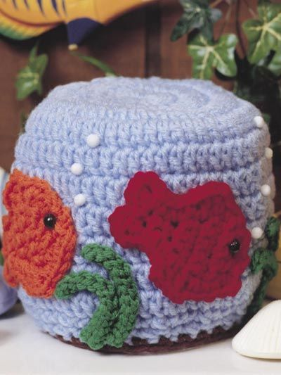 How Cute! Fishbowl Tissue Topper: free pattern | Crochet Coasters ...