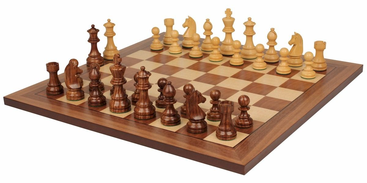 German Knight Staunton Chess Set In Golden Rosewood Boxwood With Walnut Board 2 75