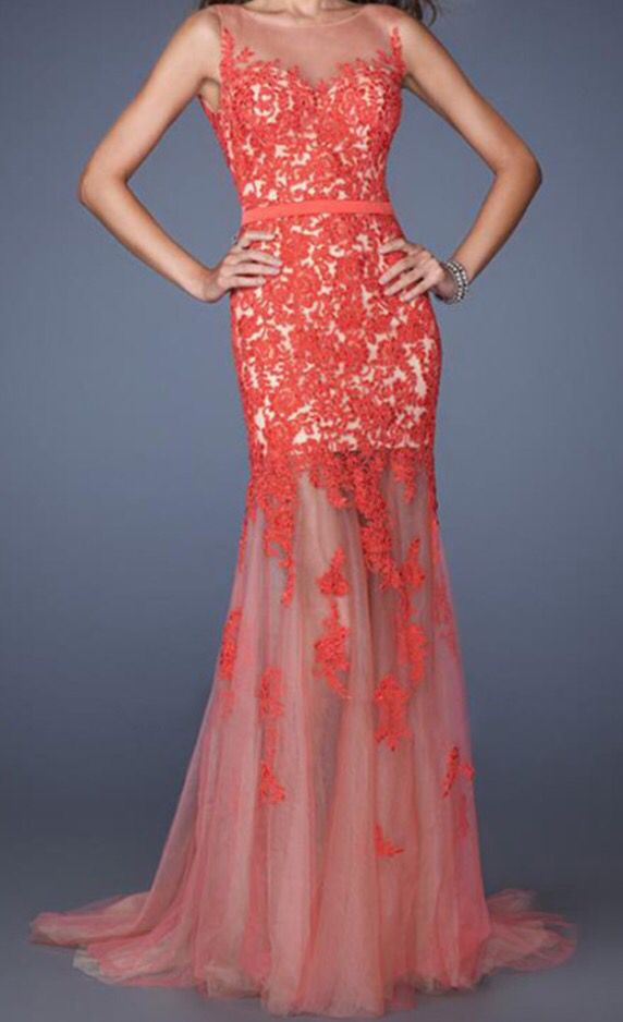 Spring floral lace gown with dark peach lace and nude base | Prom ...
