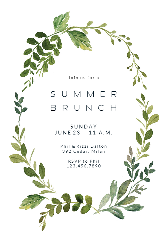Green Wreath Brunch Lunch Invitation Template Greetings Island Bridal Shower Invitations Printable Garden Party Invitations Brunch Invitations