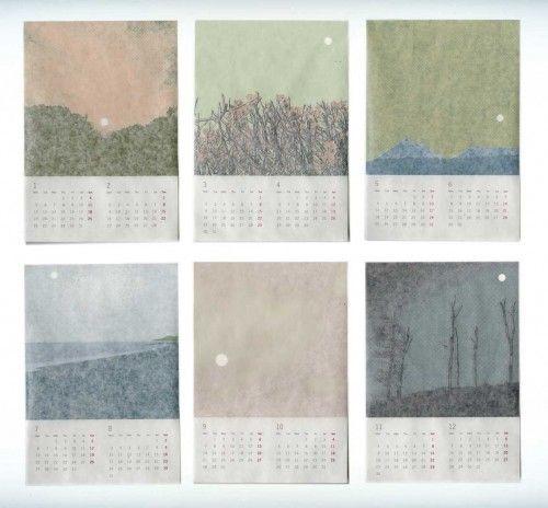 calendar, japan, soft colours