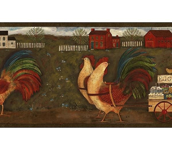Interior Place Rust Country Roosters Wallpaper Border