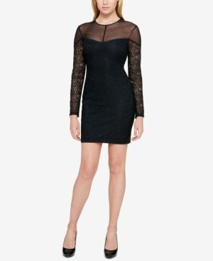 Guess Lace Illusion Bodycon Dress Black Products