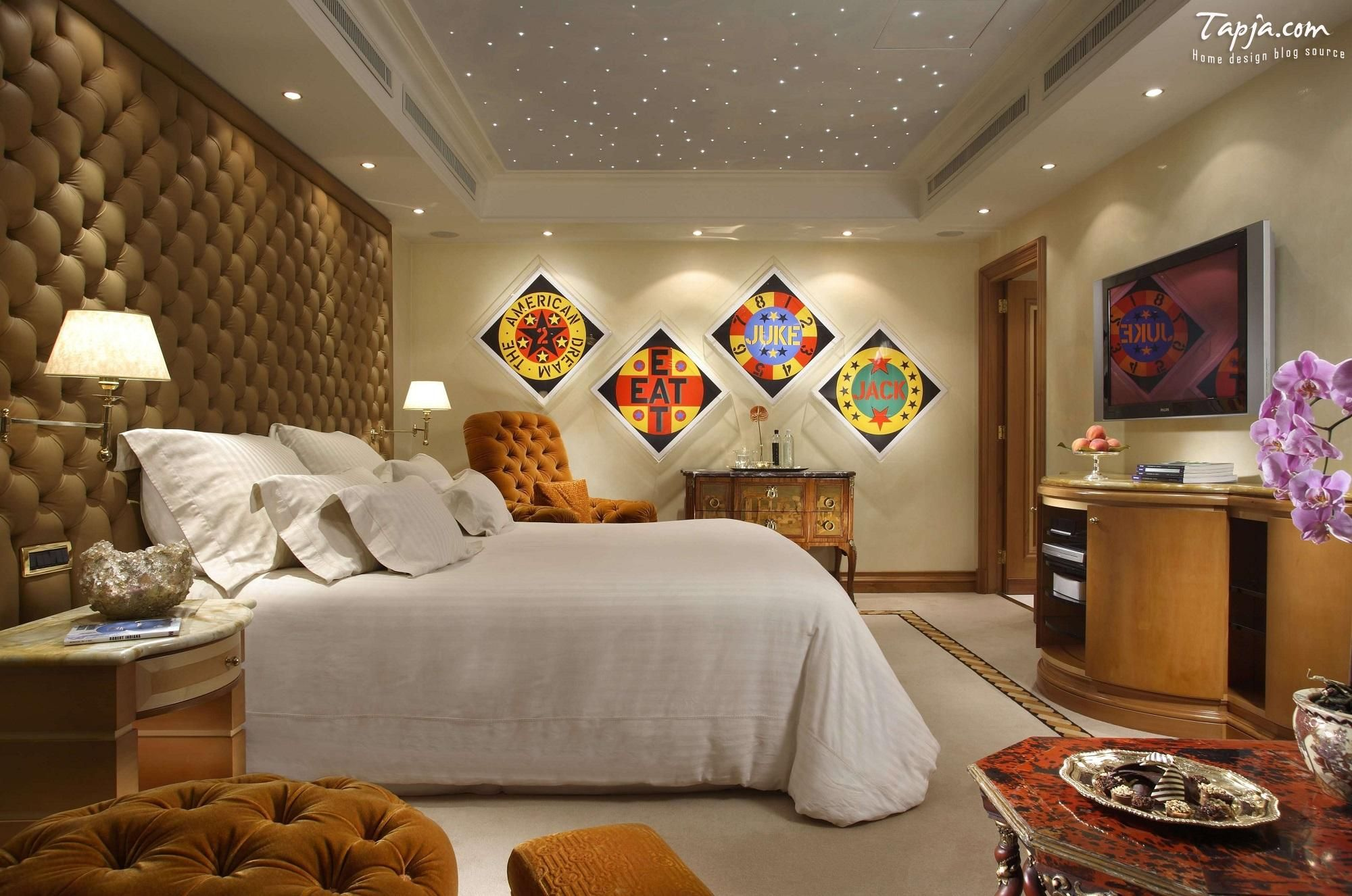 Fascinating Bedroom Decorating Woman Idea With Amazig Lighting Idea Idea In Beautiful Ceiling And Frame On The Wall Including Leather Art Wall Beside Bed Including Tv Setup On The Wall Above Vanity Bedroom decoration ideas for women Bedroom design http://seekayem.com