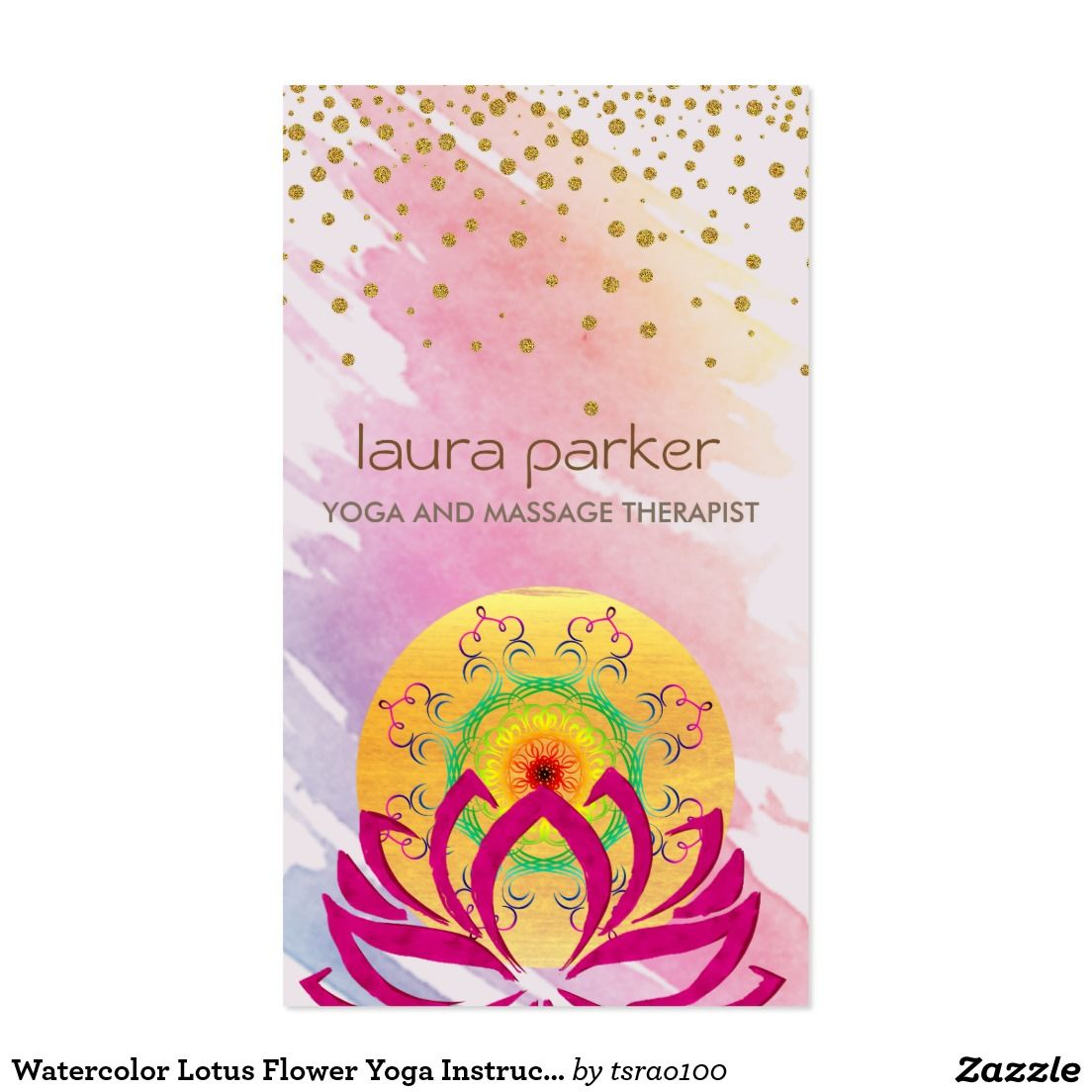 Cartes De Visite Instructeur Yoga Fleur Lotus Daquarelle
