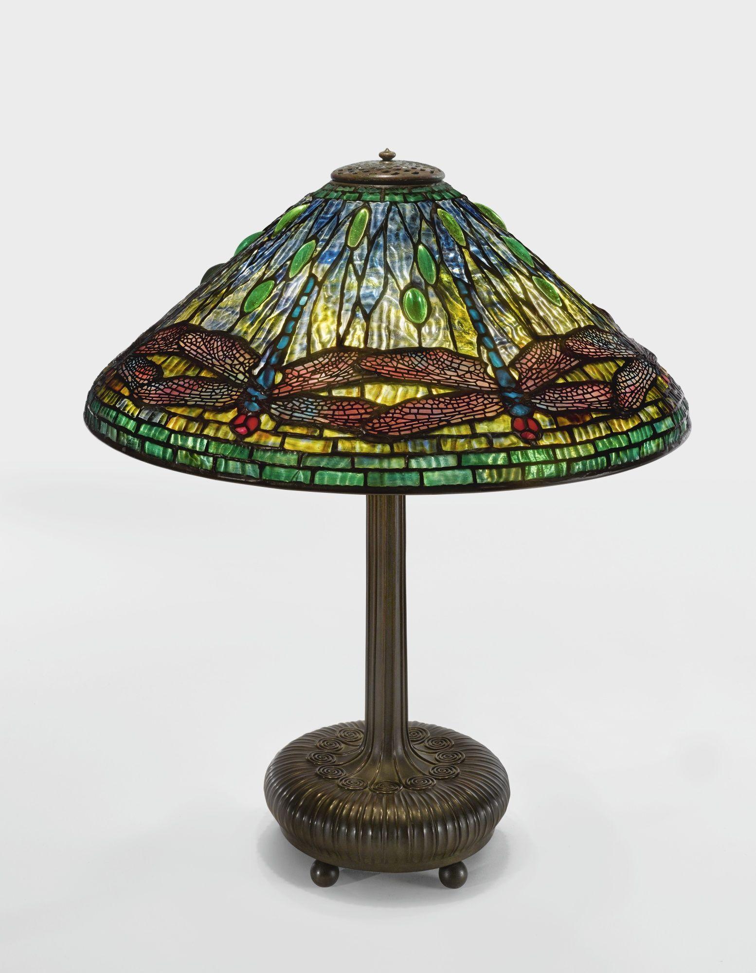 Tiffany Studios Dragonfly Table Lamp Base Impressed Tiffany Studios New York 362 S175 And Impressed 4 Leaded Glass And Lamp Table Lamp Table Lamp Lighting