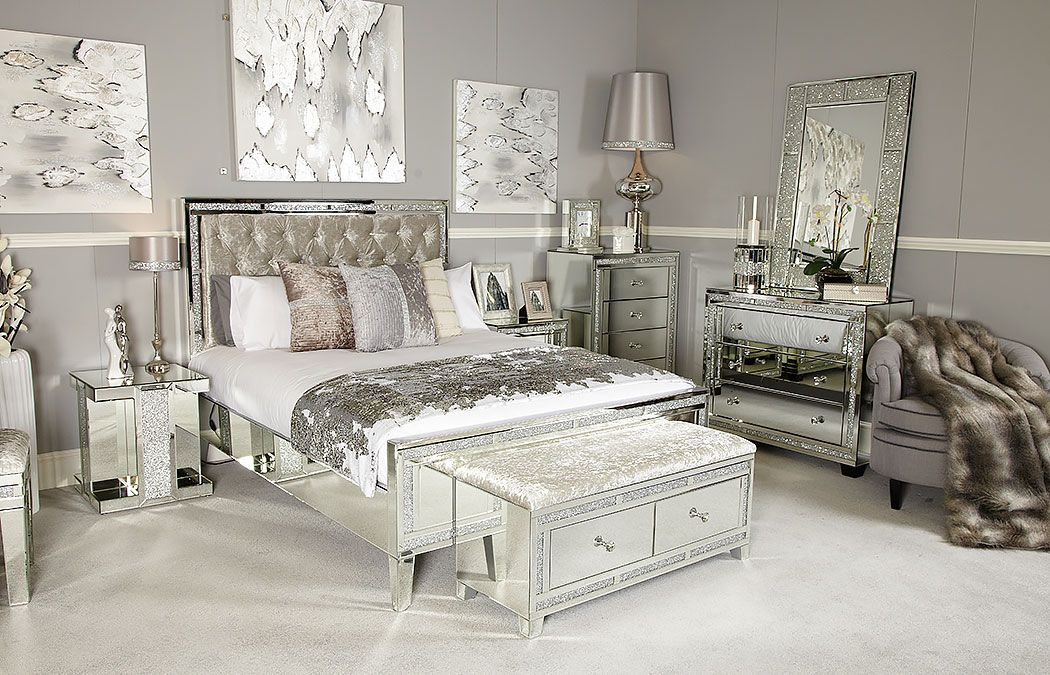 Diamond Glitz Mirrored Dressing Table Bundle Mirrored Bedroom Furniture Velvet Bedroom Home