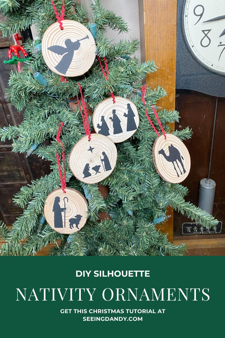 Diy Silhouette Nativity Christmas Tree Ornaments Seeing Dandy Pinterest Christmas Crafts Christmas Crafts For Kids Christmas Tree Ornaments