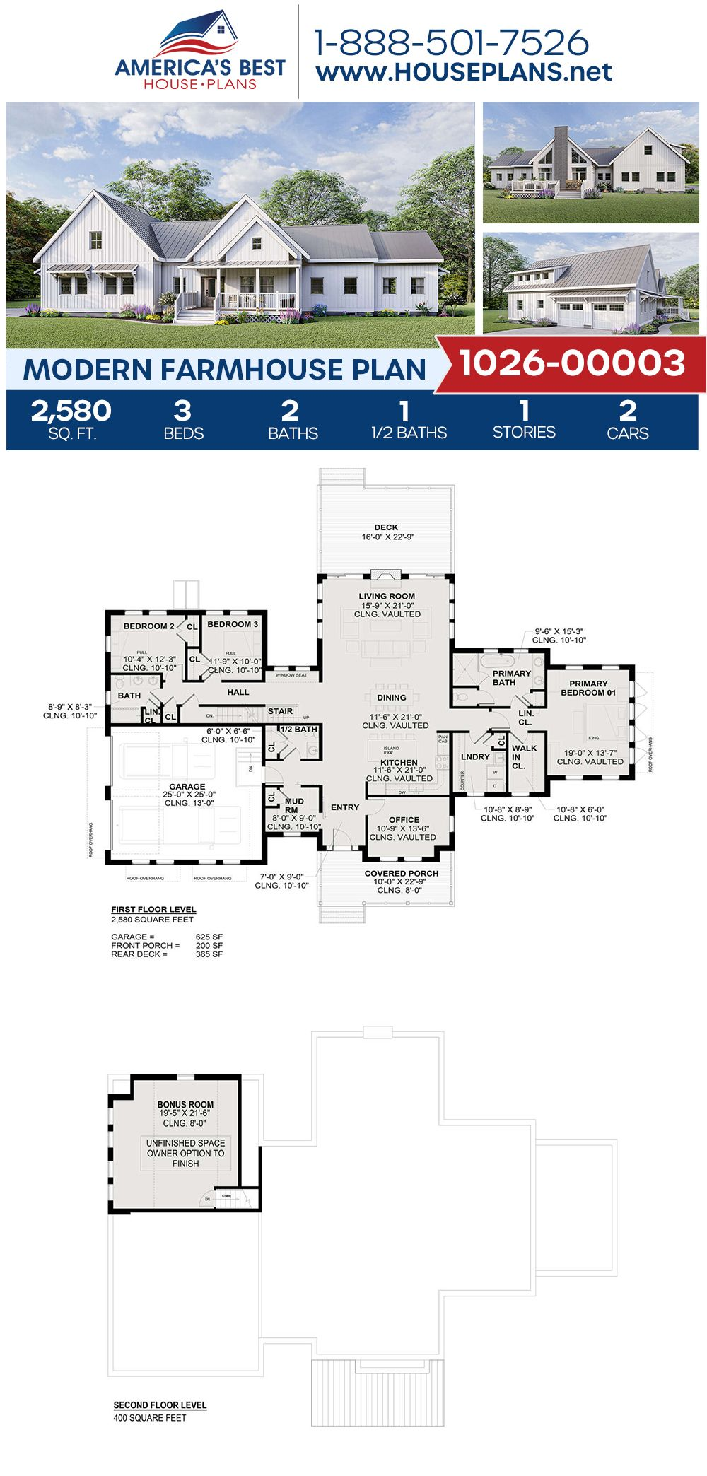 House Plan 1026 00003 Modern Farmhouse Plan 2 580 Square Feet 3 Bedrooms 2 5 Bathrooms Modern Farmhouse Plans Farmhouse Plans House Plans Farmhouse