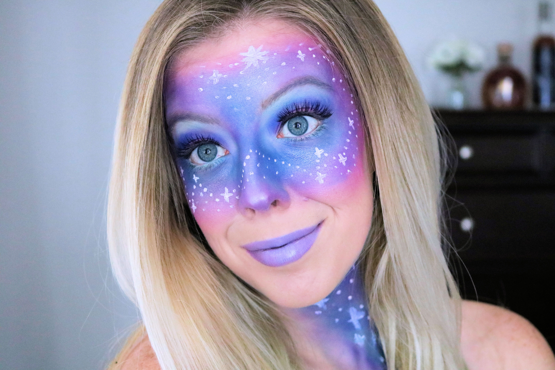 Easy Galaxy Makeup Tutorial For Halloween Galaxy Makeup Makeup Tutorial Space Makeup