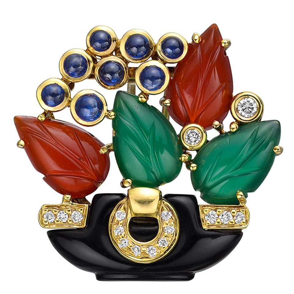 Boucher Black Flower Rose Pin Brooch Signed Numbered: Cartier Multicolored Gemstone Gold Flower Pot Brooch