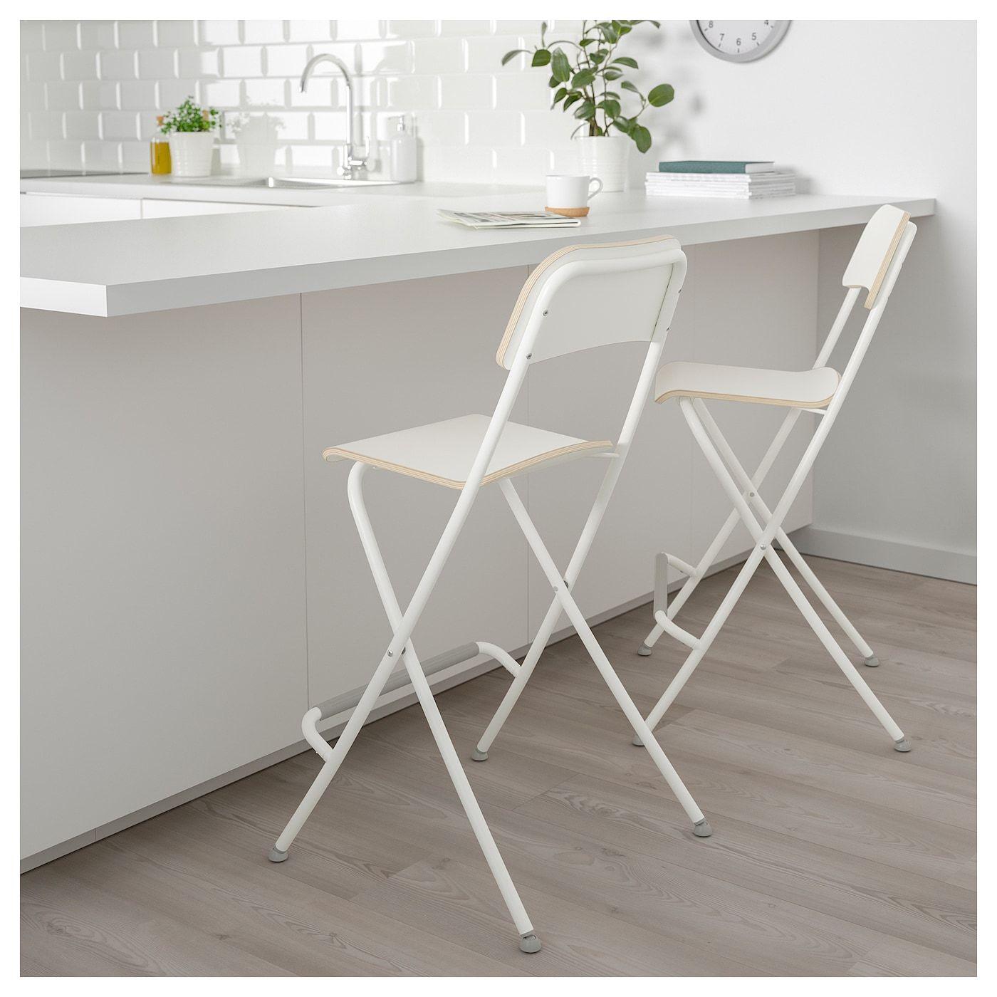Franklin Chaise De Bar Pliante Blanc Blanc 63 Cm Tabouret De
