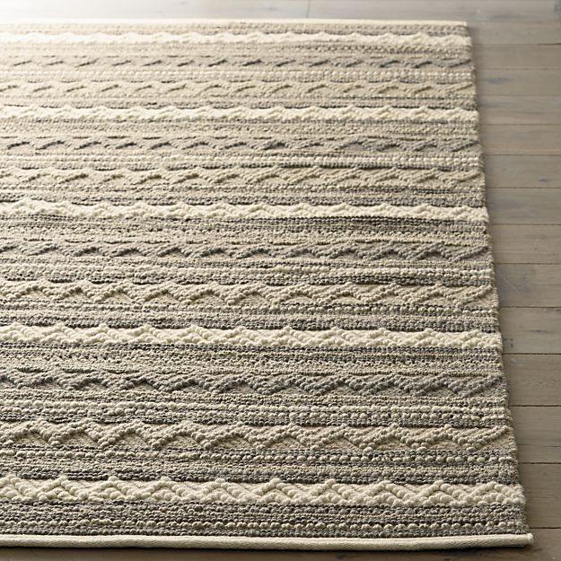 Mallory Neutral Striped Wool 8u0027x10u0027 Rug | Crate And Barrel