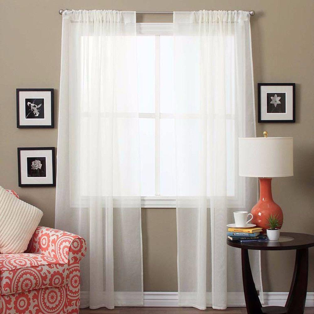 Lucerne Rod Pocket Panel Pair Sheer Curtain Panels 96 Inch