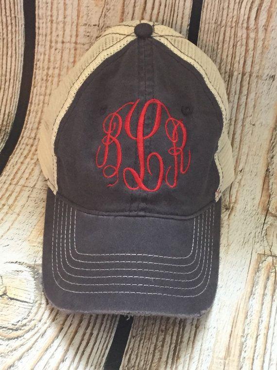Distressed Monogram non-structured Trucker Hat monogram hat ... 19bc56ed115
