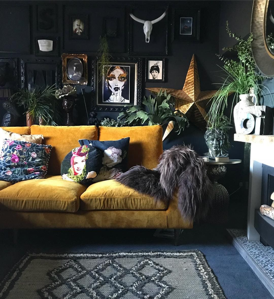 Living Room Home Decor House Decoration Apartment Therapy Yellow Velvet Sofa Black Wall Ga Moody Living Room Dark Living Rooms Eclectic Living Room