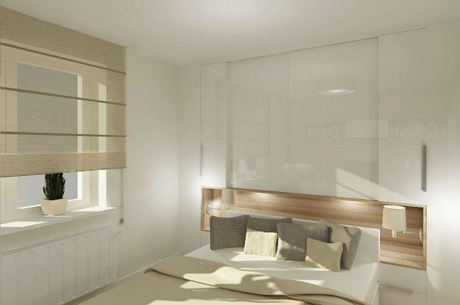 Hochglanz Schlafzimmer ~ Kleines schlafzimmer weiß hochglanz ecru holz nische schlaf