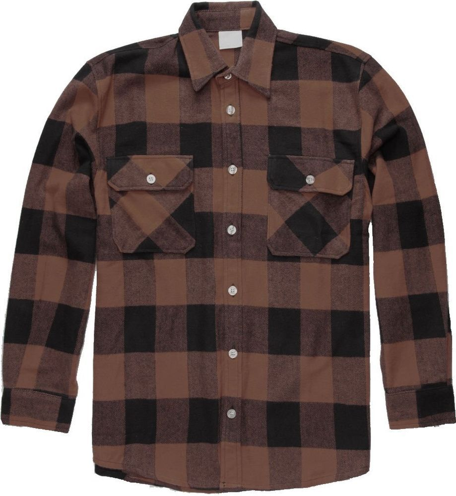 Brown Extra Heavyweight Brawny Buffalo Plaid Flannel Shirt  Rothco  Flannel 2226a94f510