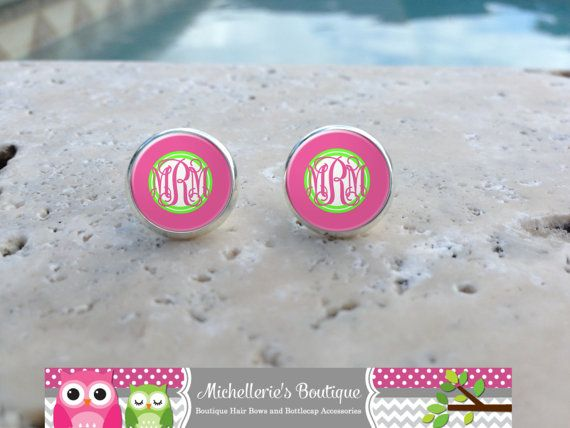 Hot Pink and Lime Monogram Earrings by MichelleriesBoutique, $7.75