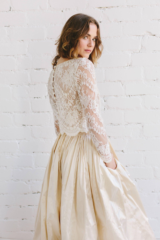 3/4 length lace wedding dress  Bridal Lace Top  Long Sleeve Wedding Top  Bridal Separates