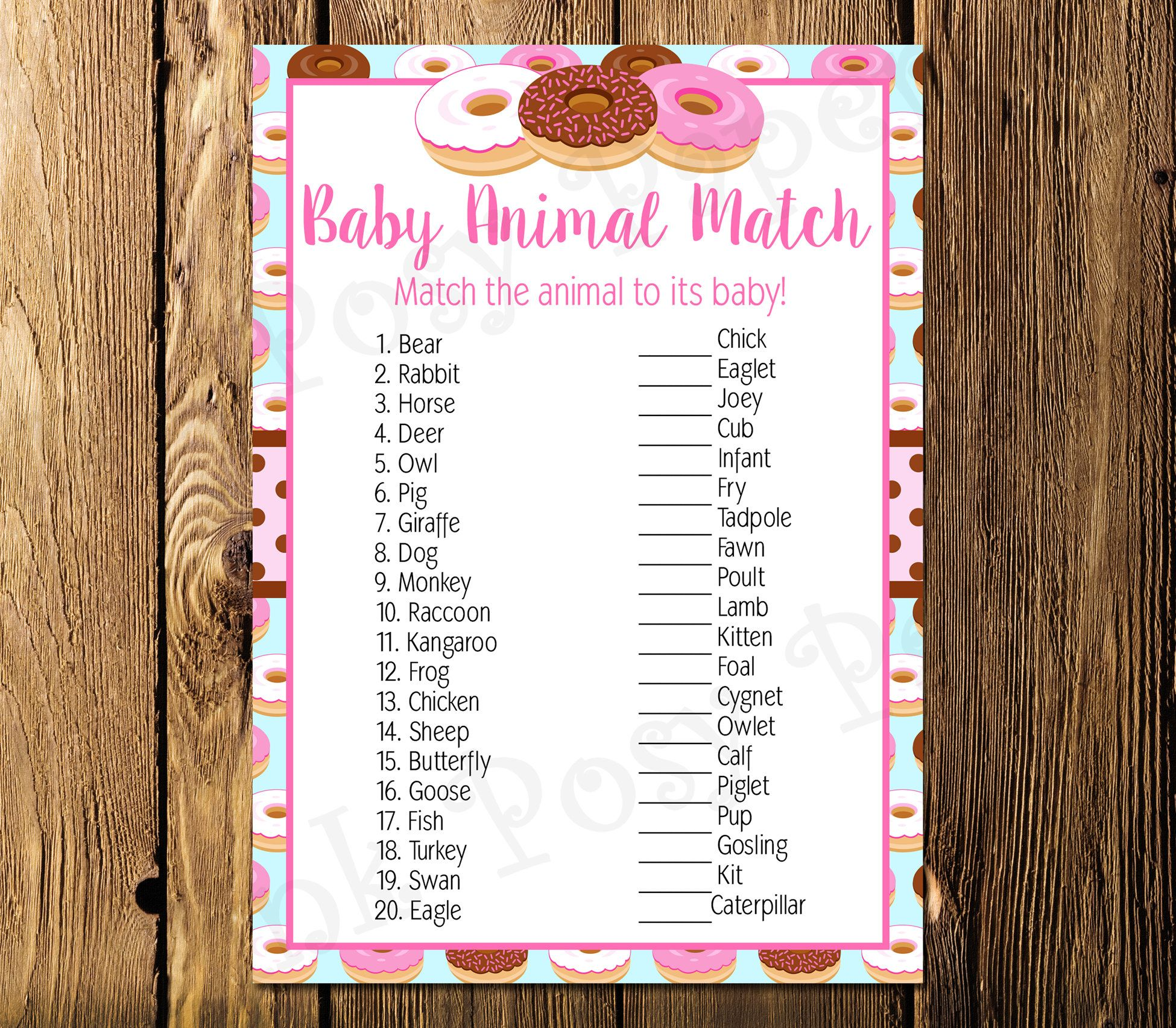 Printable Donut Shower Baby Animal Match Game