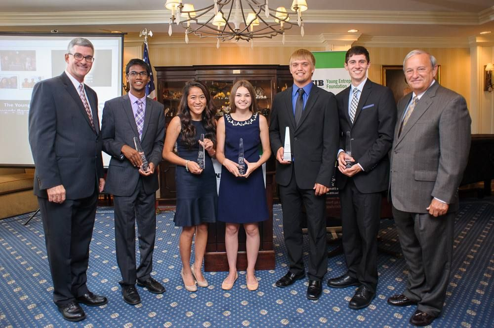 Each year, the NFIB Young Entrepreneur program offers non-renewable scholarships that recognize young people who have demonstrated entrepreneurial spirit and initiative with college scholarship, ranging in value from $1,000 to $15,000. Here are last year's winners with NFIB board member Kurt Summers and NFIB president & CEO Dan Danner.