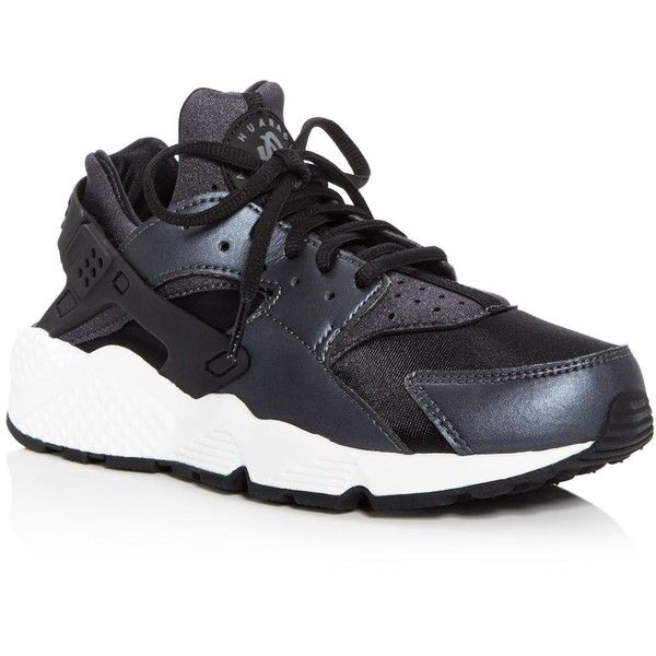 Nike Air Huarache Run Se Lace Up Sneakers ($120) ❤ liked on Polyvore featuring shoes, sneakers, laced shoes, neoprene shoes, nike shoes, nike footwear and cushioned shoes