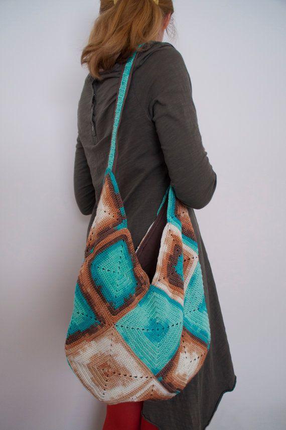 13f7646fcf93 Crochet Shoulder Hobo Bag Blue Summer Reusable Funky Oversized Textured  Market Boho Chic Large Folk Style Grocery Shopping Functional Bag