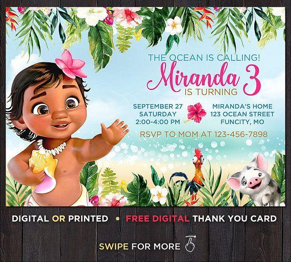 Baby Moana Birthday Invitation And Thank You Instant Download Invita
