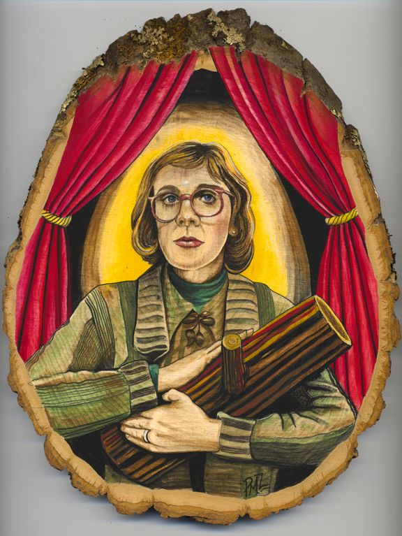 The Lady of the Log (gouache on a wood slice) by Patrushka #twin_peaks #log_lady