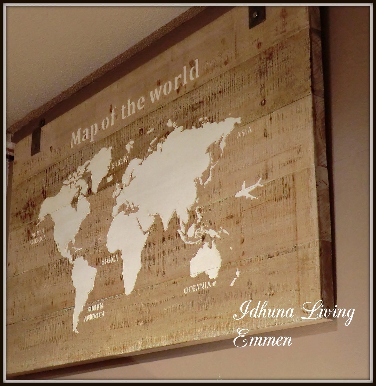 Wanddecoratie Wereldkaart Metaal.Wanddecoratie Wandpaneel Houten Wereldkaart 140 X 80 X 4 Cm
