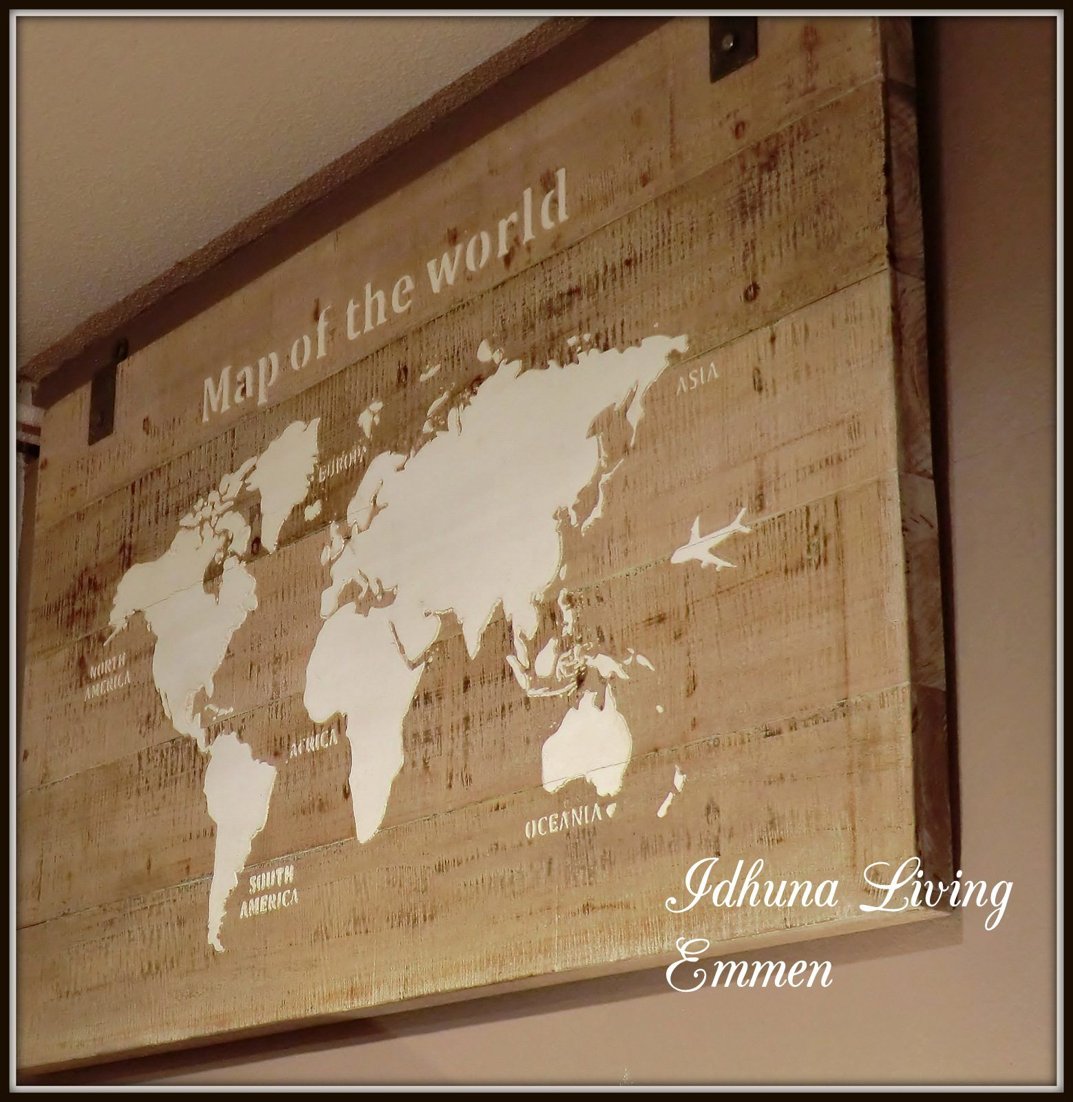 wanddecoratie wandpaneel houten wereldkaart 140 x 80 x 4