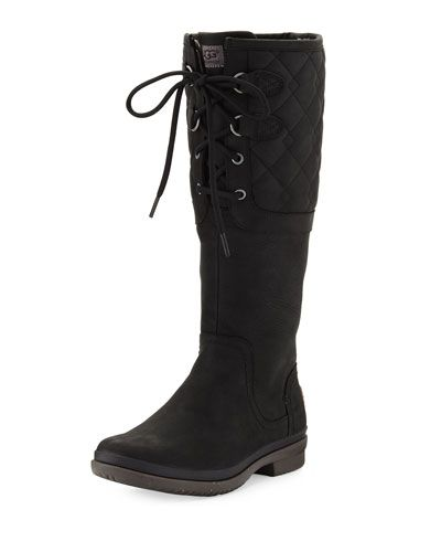 Leather · UGG ELSA DECO QUILTED WATERPROOF BOOT, BLACK.