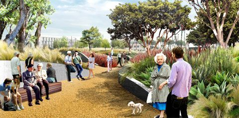 Santa Monica Palisades Garden Walk + Town Square  landscape architecture James Corner render