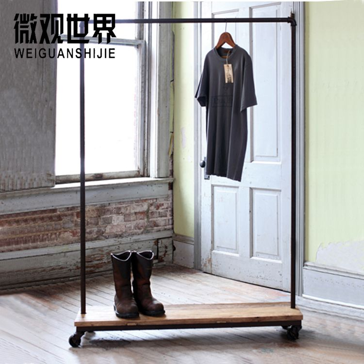 Antique clothing racks shelf loft industrial pipe hangers - Portant vetement design ...