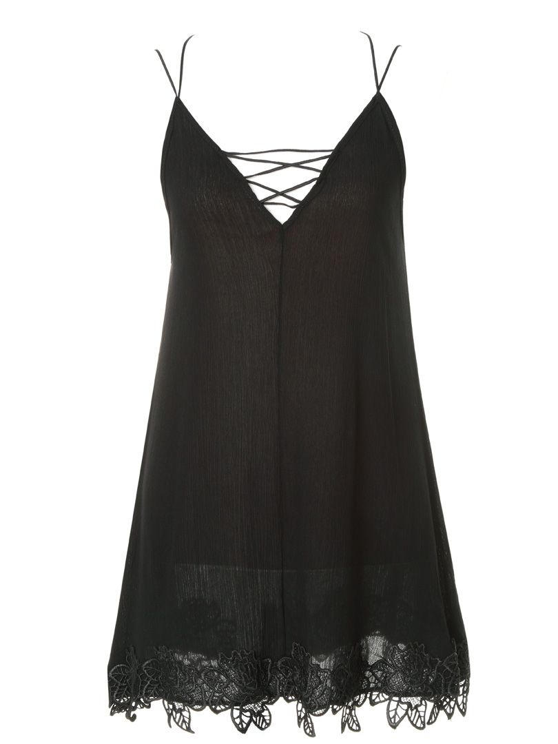 Black Strappy Longline camisole top