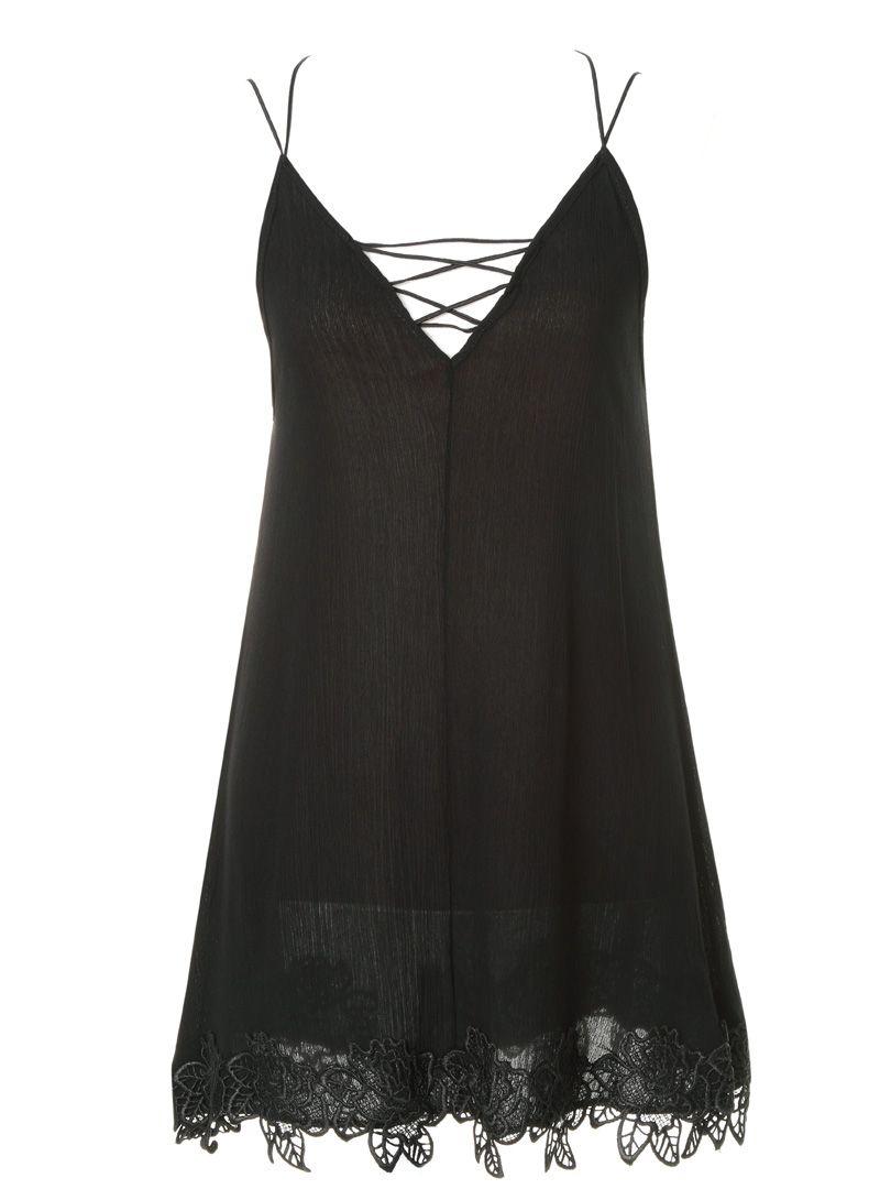 Black Strappy Longline camisole top