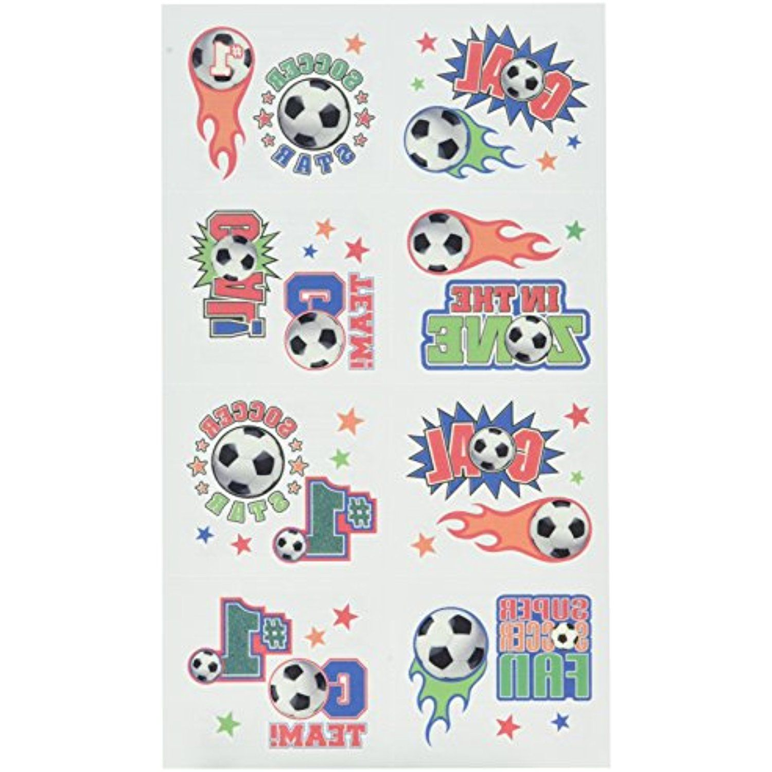 Amscan Soccer Goal Birthday Party Tattoo (16 Pack), Multi
