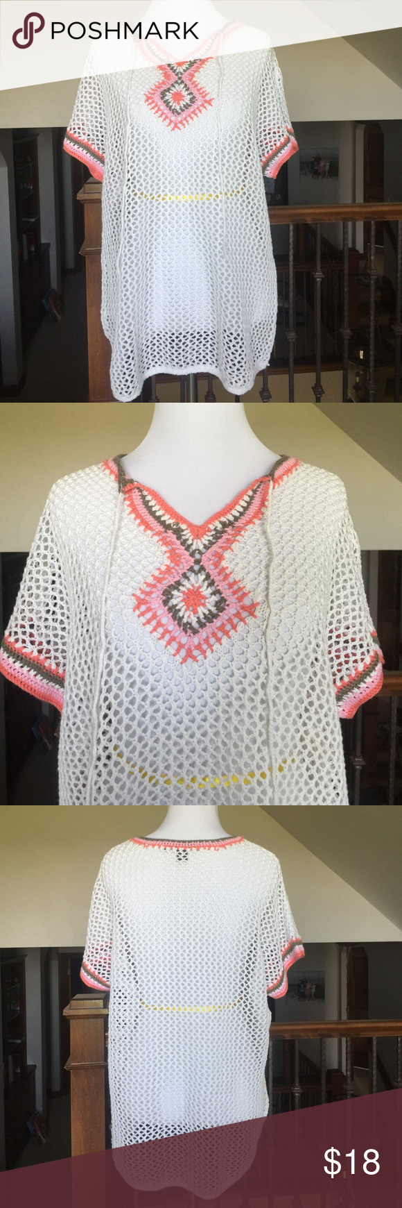 """Tommy Bahama Top Or Coverup🌴 Never worn in like new condition! Can be worn as Top or Coverup. 29""""L Colors: white, coral, pink, khaki Tommy Bahama Swim Coverups"""