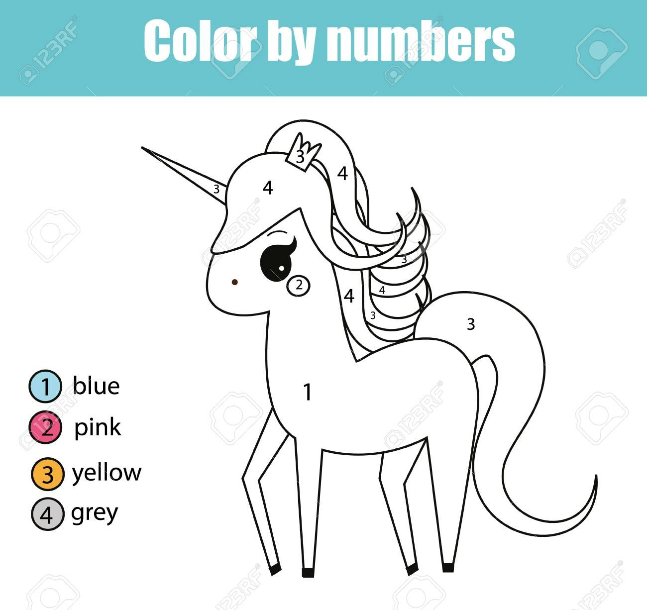 Coloring Page With Cute Unicorn Character Color By Numbers Coloring Pages Cute Unicorn Unicorn Coloring Pages