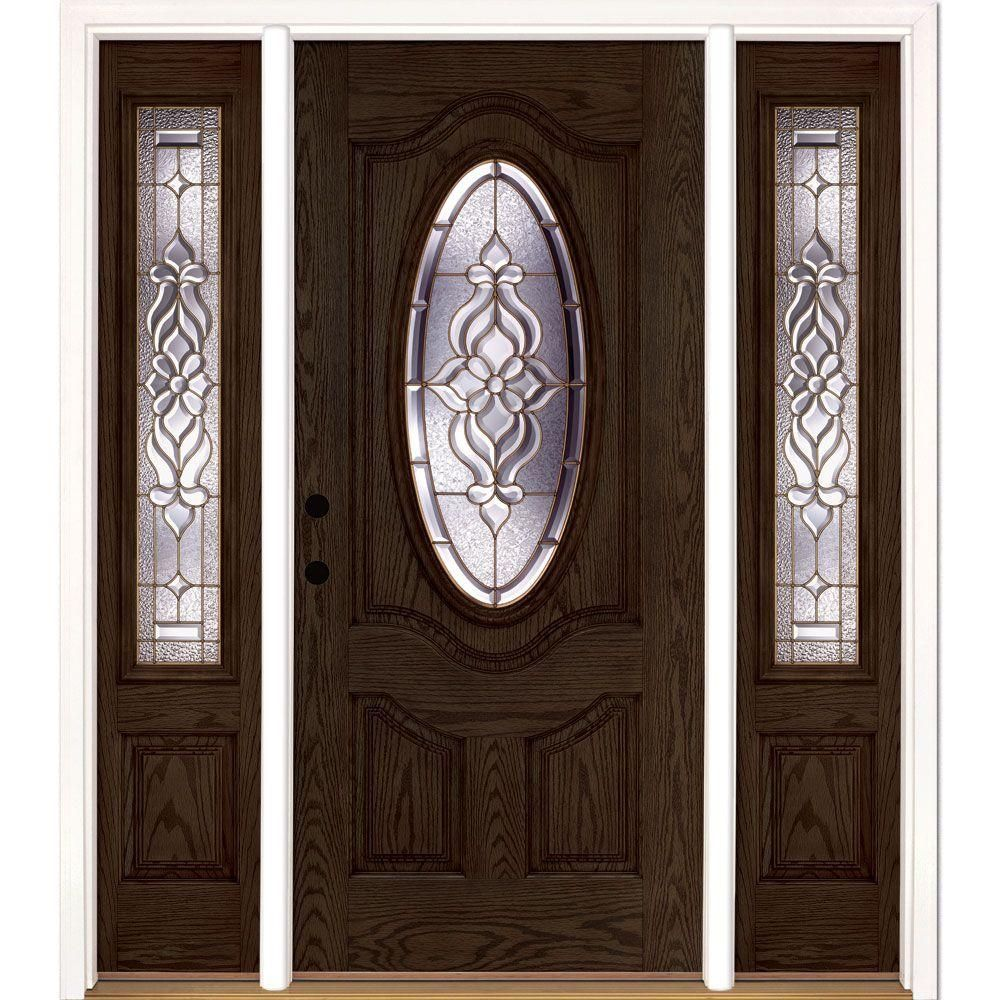 Feather river doors inx in lakewood brass oval lt